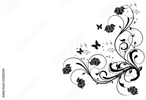Fotografija coin floral noirs et papillonsa