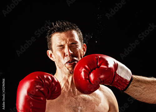 Photo  boxer being hit