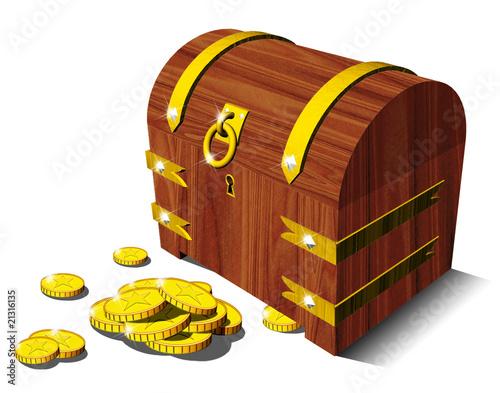 Forziere con Monete-Chest-Coffer and Coins-Coffre et Monnaies