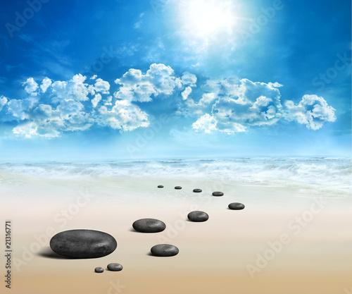 Poster Zen pierres a sable Spa Beaute et Bien-Etre