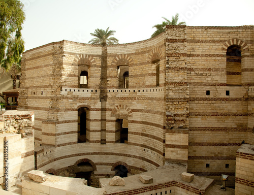 Old roman tower of Babylon in Coptic area of Cairo Canvas Print