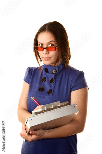 Photo  Pretty Woman in Blue Dress with Clipboard
