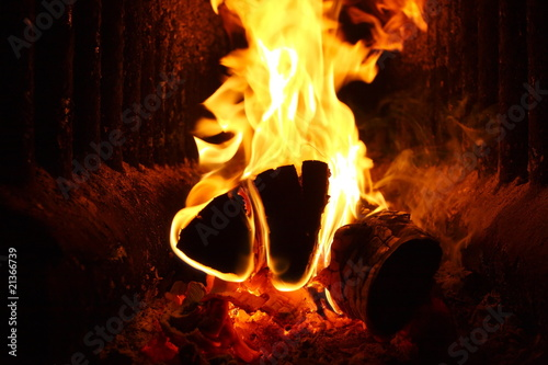 Photo  Flaming firewood in russian stove