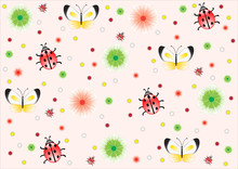 Light Pink Background With Flowers, Ladybirds, And Butterflies