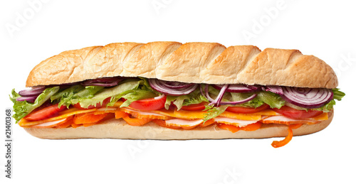Staande foto Snack long baguette sandwich with lettuce, slices of fresh vegetables,
