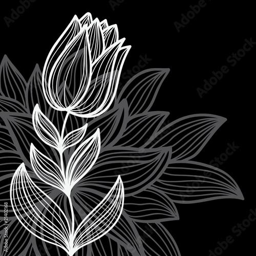 Poster Floral black and white black floral background
