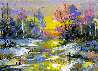Panel Szklany Zima Winter landscape with the wood river