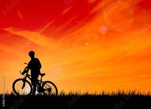 Fotobehang Fietsen Silhouette of the biker