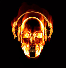Great Image Of Flaming Skull W...