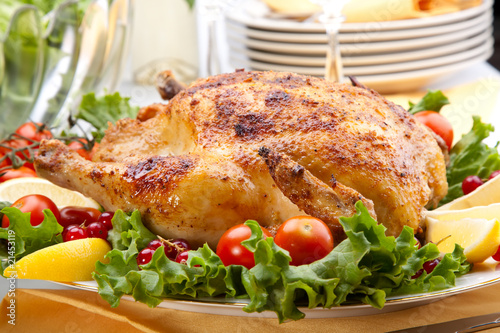 Fototapety, obrazy: Whole roasted chicken on table