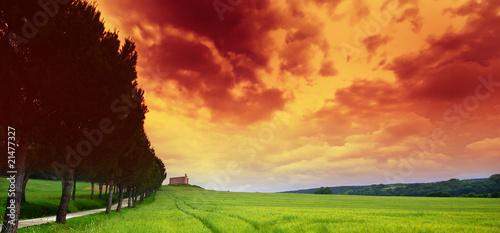 Cadres-photo bureau Brique toscane et ciel de feu