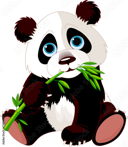 Printed kitchen splashbacks Fairytale World Panda eating bamboo