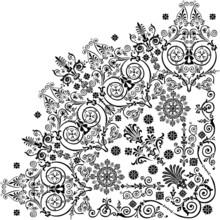 Black Quadrant With Floral Curls