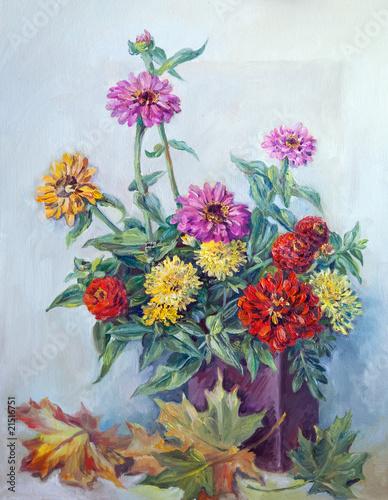 kolorowe-kwiaty-i-jesienne-liscie-malarstwo-olejne