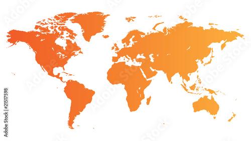 Fototapeta Orange World map