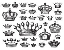 Set Of Antique Crown Engravigs (vector)