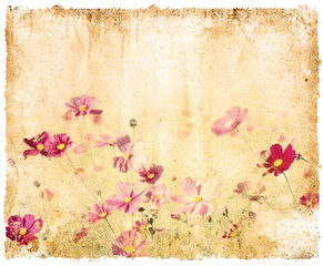 Panel Szklany Grunge old flower paper textures