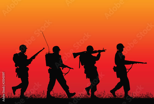 Poster Militaire D-day. Vector silhouette of soldiers.