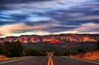 Sunset at the road. Utah. USA