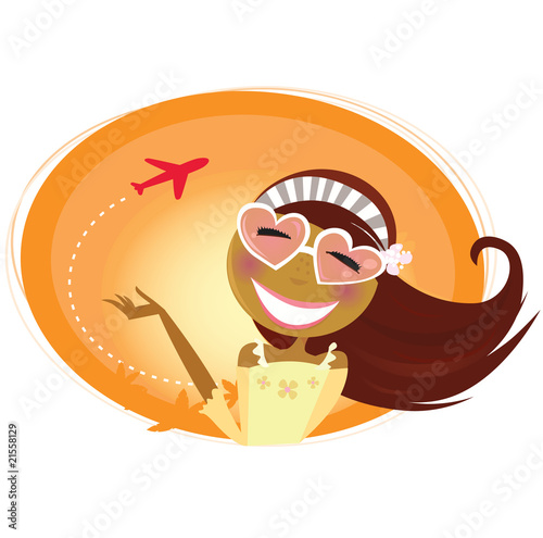 Papiers peints Avion, ballon Travel woman and airplane in background. Vector