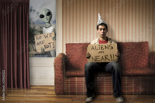 Photo  funny concept of Alien invasion
