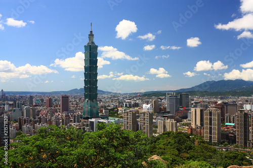 Photo  sunny Taipei scene with taipei101.