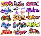 Różne style napisów graffiti