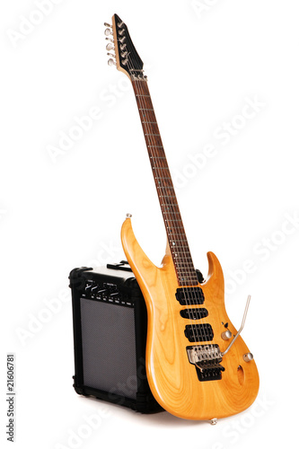 Electric guitar with amplifier Canvas Print