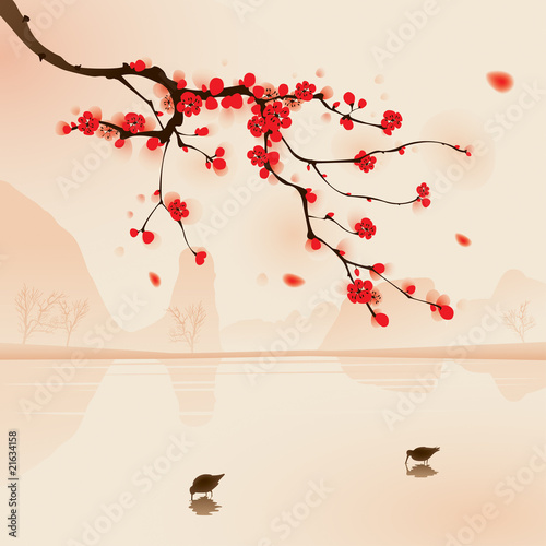 malarstwo-w-stylu-orientalnym-kwiat-sliwy-na-wiosne