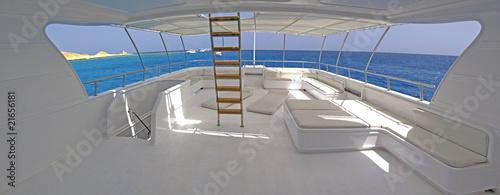 Sundeck of a large motor yacht