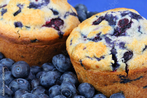 Fotografie, Obraz  Extreme close up of fresh baked blueberry muffins and blueberrie