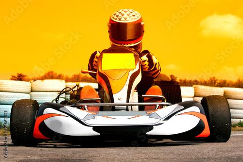 Poster Voitures rapides pilote de karting au coucher du soleil