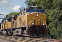 Diesel Train Engine On Tracks