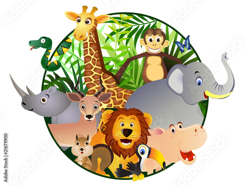 Deurstickers Zoo Safari cartoon