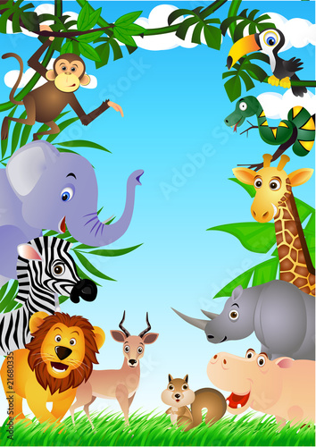 Poster Zoo Wild animal in the tropical jungle