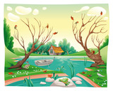Pond and animals Funny cartoon and vector illustration