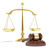 Martello da giudice e bilancia - 21687582