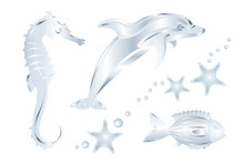 Set Of Silver Sea Animals, Iso...