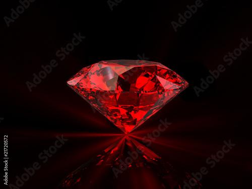 Fotografía  Red diamond on black background
