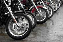 Gathering Of Motorcycles On A ...