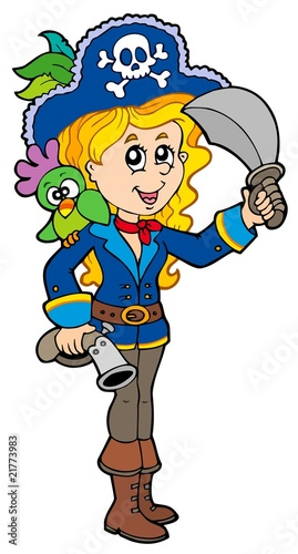Ingelijste posters Piraten Pretty pirate girl with parrot