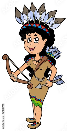 Poster Indiens Cute Native American Indian girl
