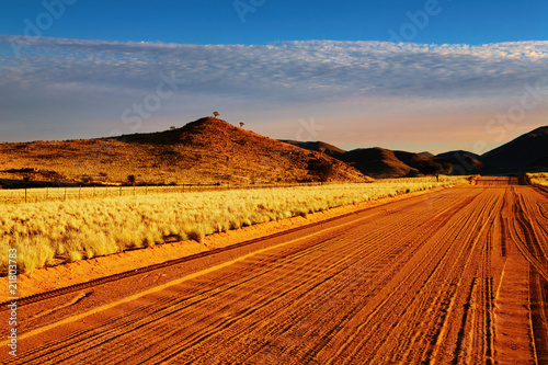Staande foto Afrika Road in Kalahari Desert
