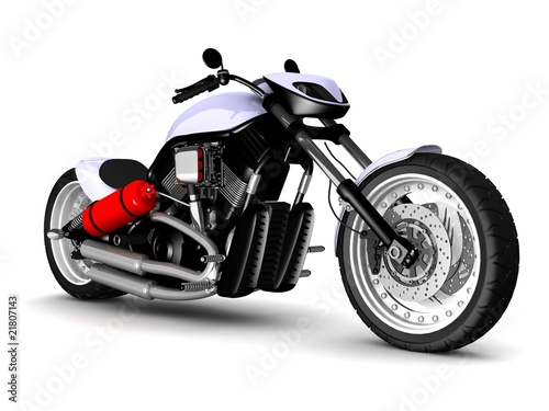 Poster Motocyclette modern motorcycle isolated on white background