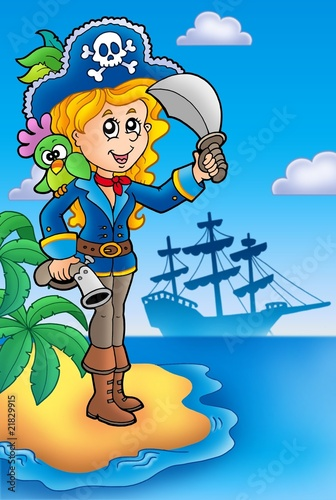 Deurstickers Piraten Pretty pirate girl on island