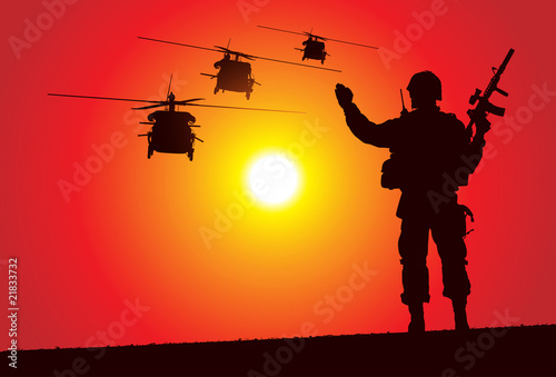 Poster Militaire Silhouette of a soldier with helicopters on the background