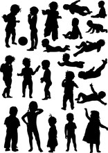 Set Of Isolated Baby Silhouettes