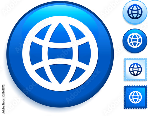 Globe Icon on Internet Button - Buy this stock vector and