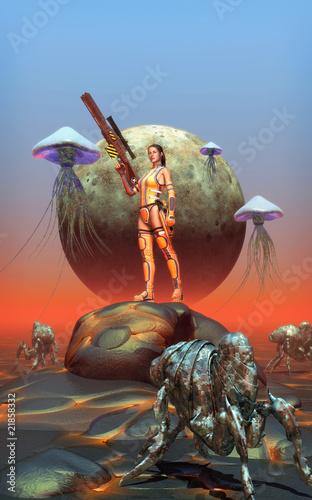 futurystyczny-wojownik-dziewczyna-na-obcej-planecie