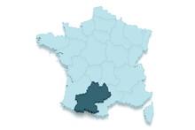 Région Midi Pyrénées 3D Ombré Détouré Fond Blanc
